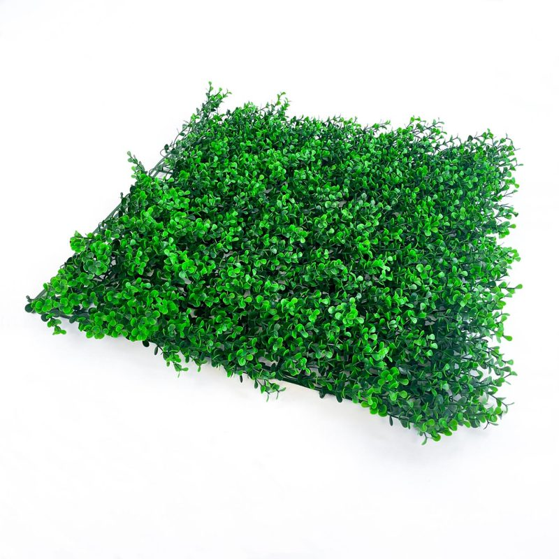 Boxwood dark artificial hedging tile with long garden green, thick foliage