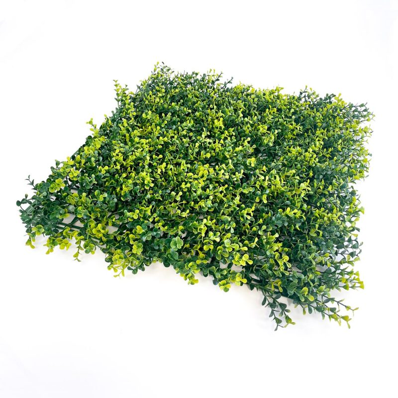 Boxwood natural artificial hedge tile with mixed light and dark green foliage