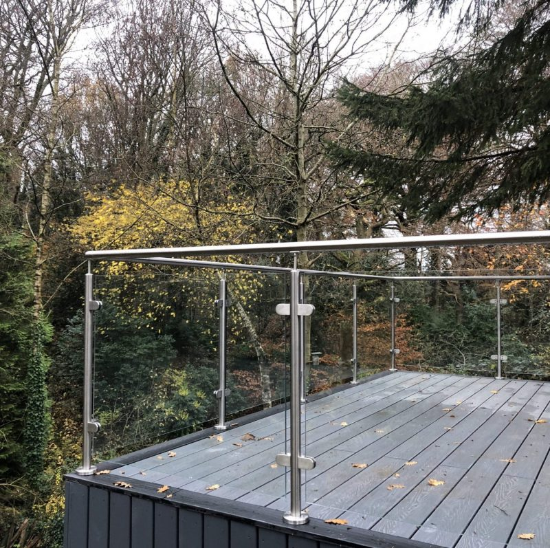 glass balustrades with handrail