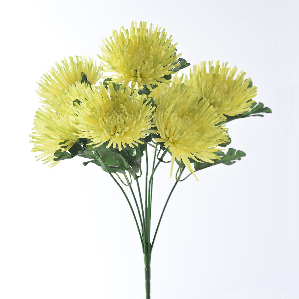 Artificial yellow spider mum flowers