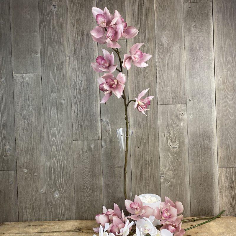 artificial single stem light pink orchid