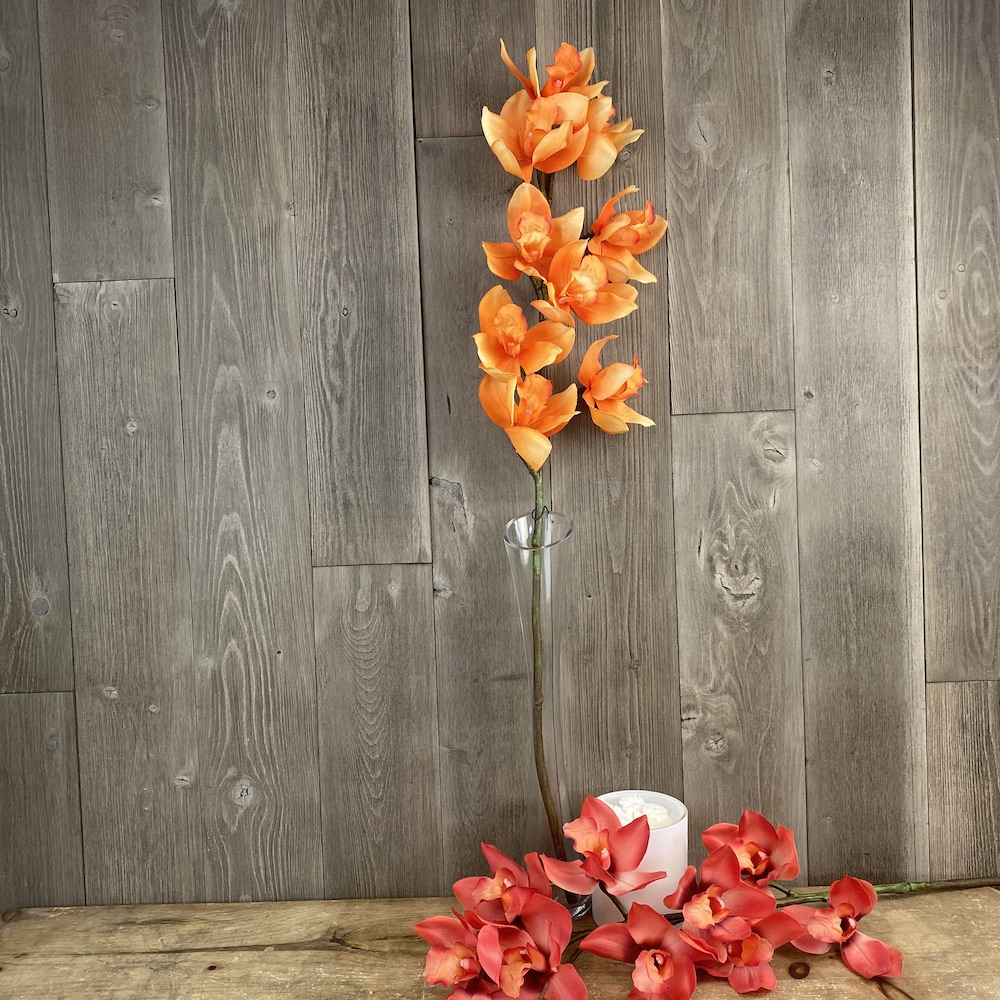 artificial single stem Anna cymbidium orange orchid