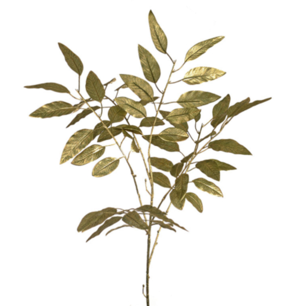 artificial gold shimmer leaf spray