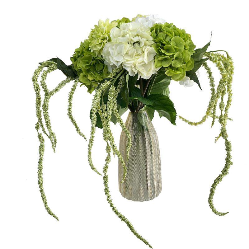 white and green hydrangea bunch bouquet