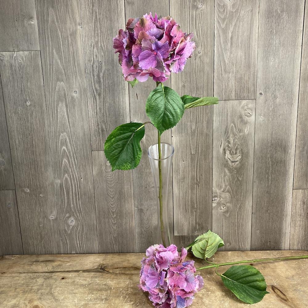 artificial singular stem Hydrangea Dusky Purple