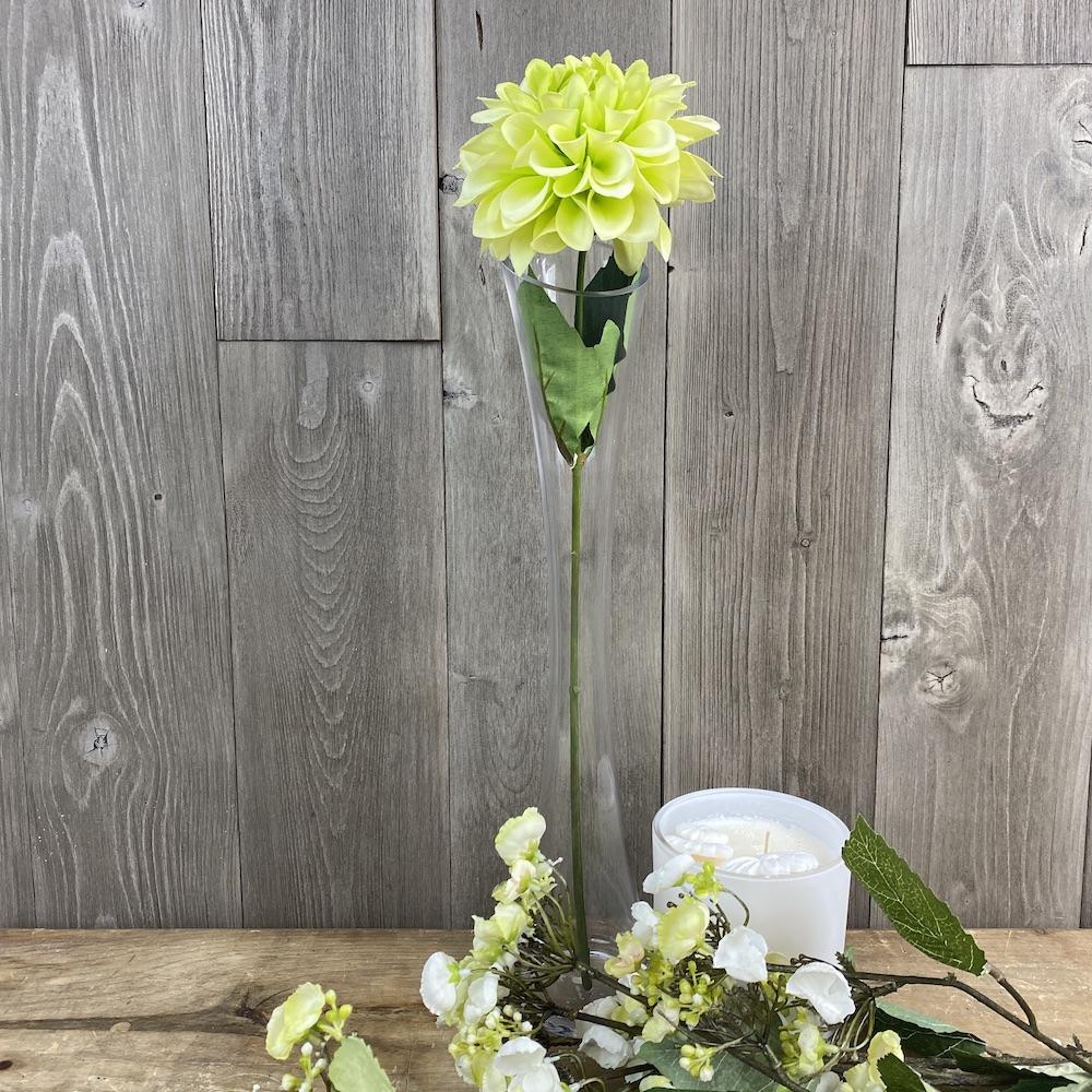 single stem artificial green dahlia close up