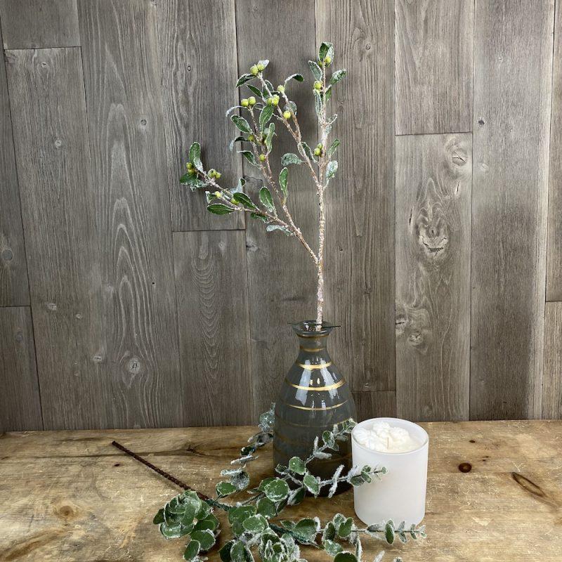 artificial frosted berry and leaf spray single stem