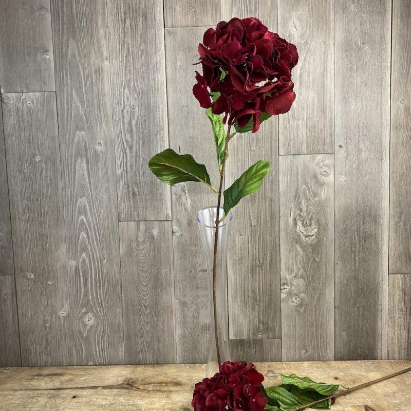 artificial clumber red hydrangea flower stem