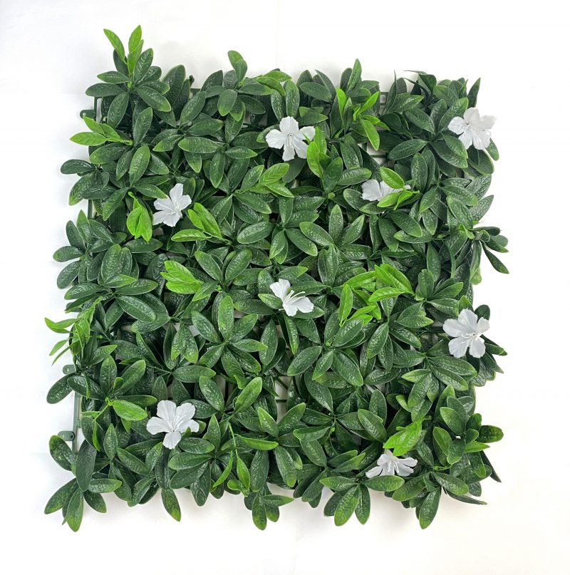 Deluxe white flower artificial hedge tile flat view