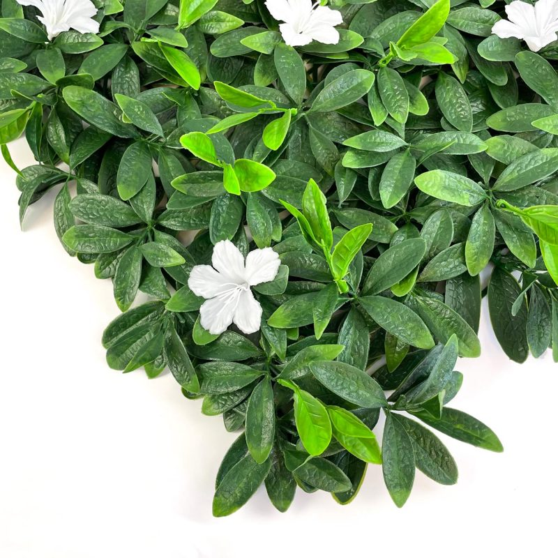 Deluxe white flower hedging tile close up image