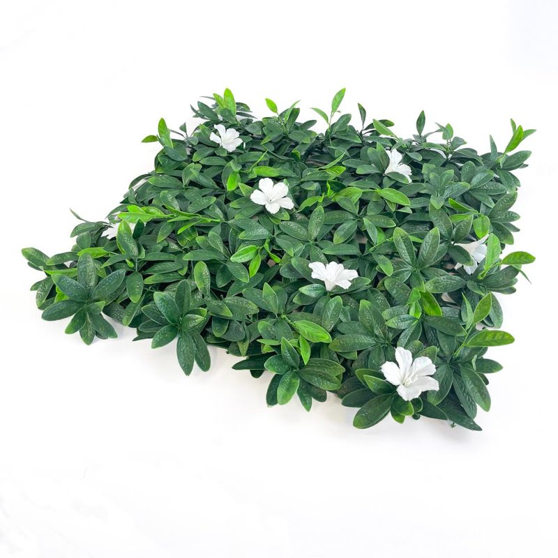 deluxe white flower artificial hedging tile dense foliage