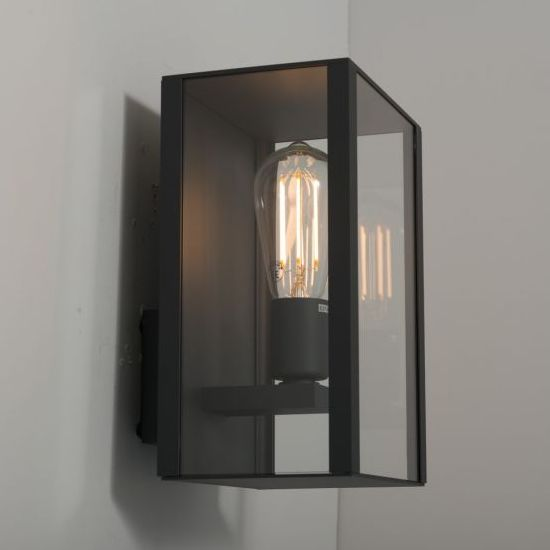Andria boxed black wall light outdoors