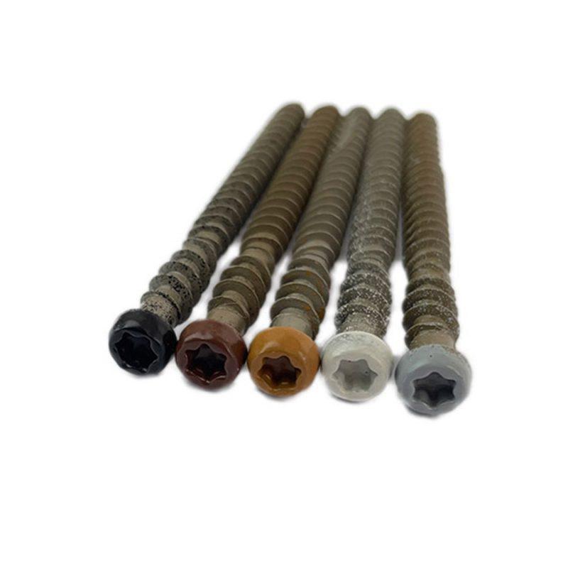 Colour coded composite decking screws