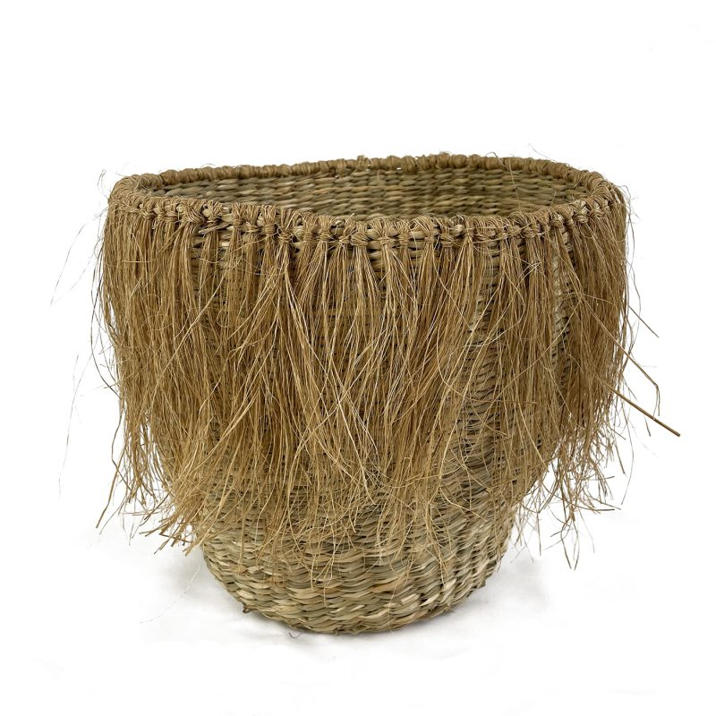 large indoor woven plant pot
