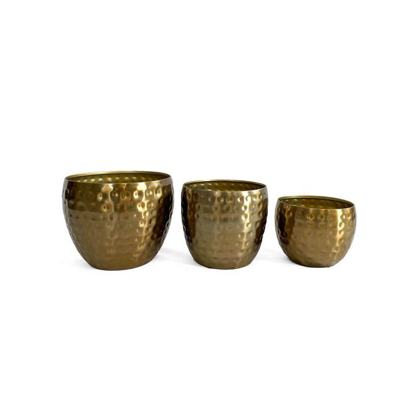 Hammered gold metal indoor pots